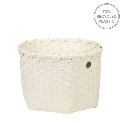 Handed By Small Dimensional Basket - Ecru White