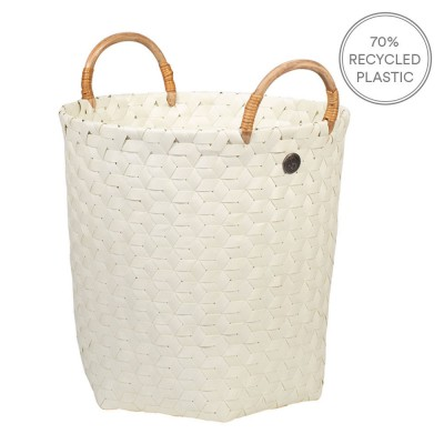Handed By Dimensional Basket With Handles - Ecru White
