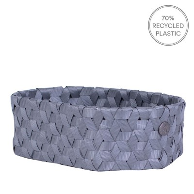 Handed By Mini Oval Dimensional Basket - Dark Grey