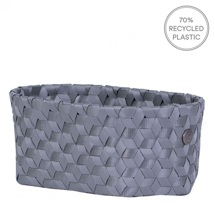 Handed By Small Oval Dimensional Basket - Dark Grey