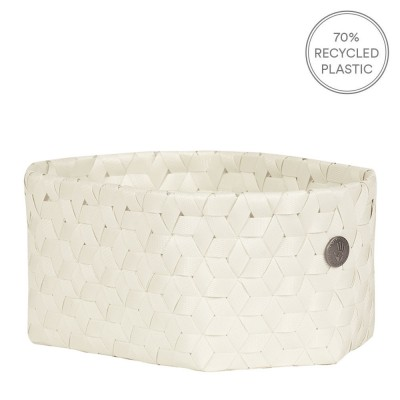 Handed By Small Oval Dimensional Basket - Ecru White