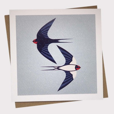Two Swallows Greetings Card