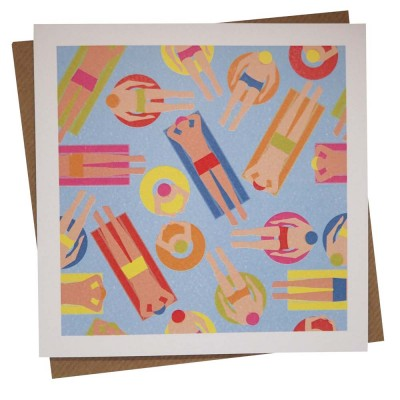 Busy Bathers Greeting Card