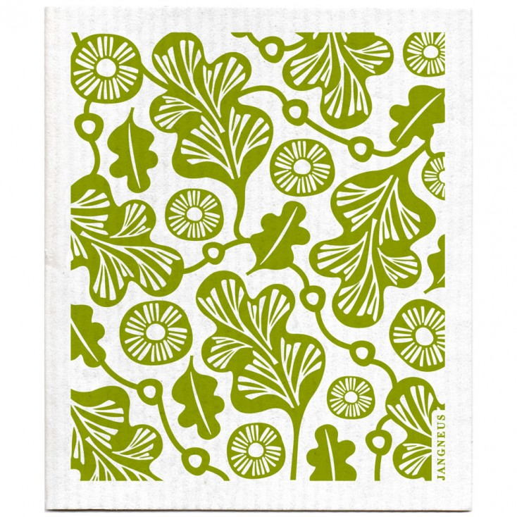 Jangneus Cellulose Dishcloth - Green Oak Leaf