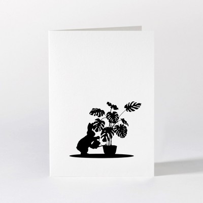 Ham Greeting Card - Watering Rabbit