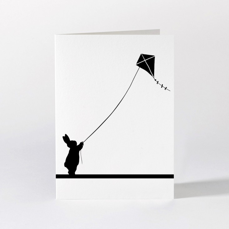 Ham Greeting Card - Kite Flying Rabbit