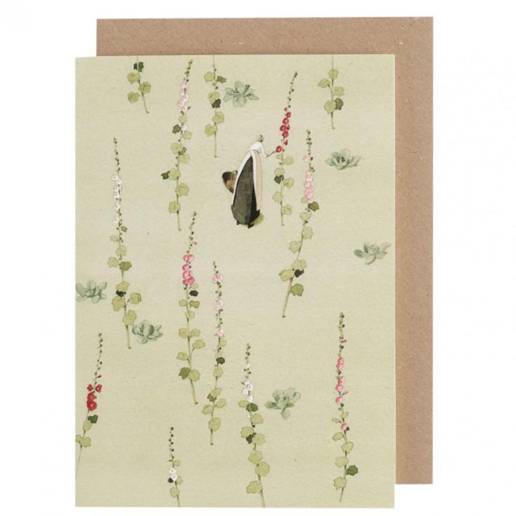 Laura Stoddart Greeting Card - Hollyhock