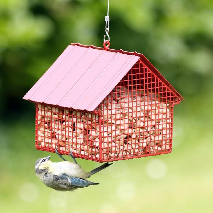Wildlife Garden Cottage Peanut Feeder - Red