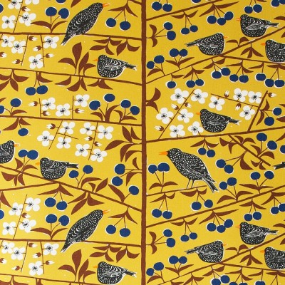 Remnant - Körsbärsträdgården Mustard Fabric - 85 cm