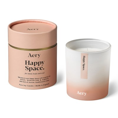 Aery Happy Space Soy Wax Candle - Rose Geranium Amber