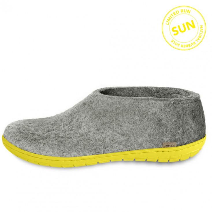 Glerups Felt Yellow Rubber Sole Shoe - Sun Grey