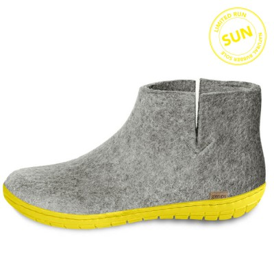 Glerups Felt Yellow Rubber Sole Boot - Sun Grey