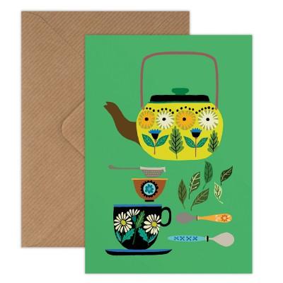 Brie Harrison Greeting Card - Retro Teapot