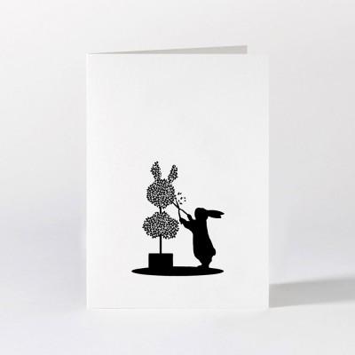 Ham Greeting Card - Topiary Rabbit