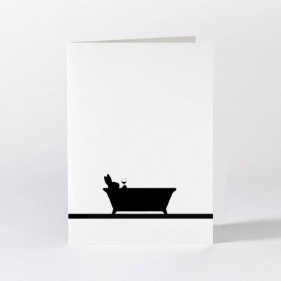 Ham Greeting Card - Bathtime Rabbit