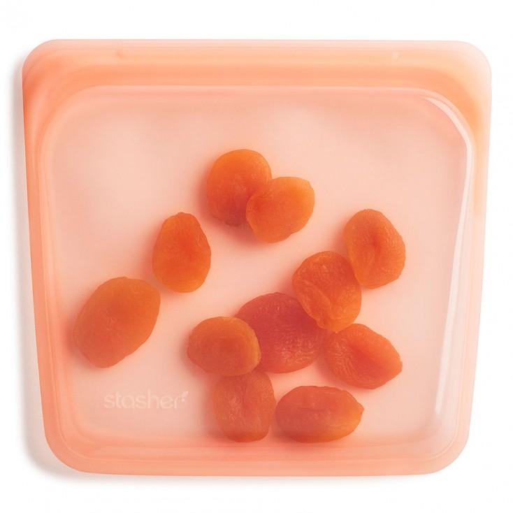 Stasher Reusable Silicone Bag - Sandwich Papaya