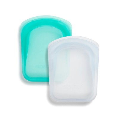 Stasher Reusable Silicone Bag - Pocket Duo Clear & Aqua