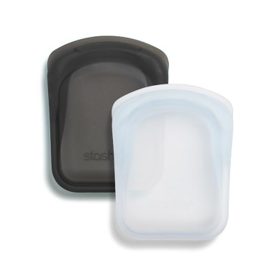 Stasher Reusable Silicone Bag - Pocket Duo Clear & Ash