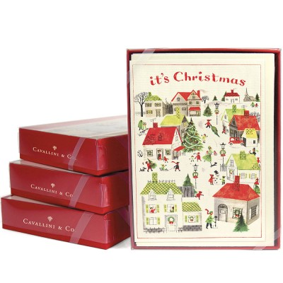 Cavallini & Co Christmas Village Christmas Cards - Box of 10