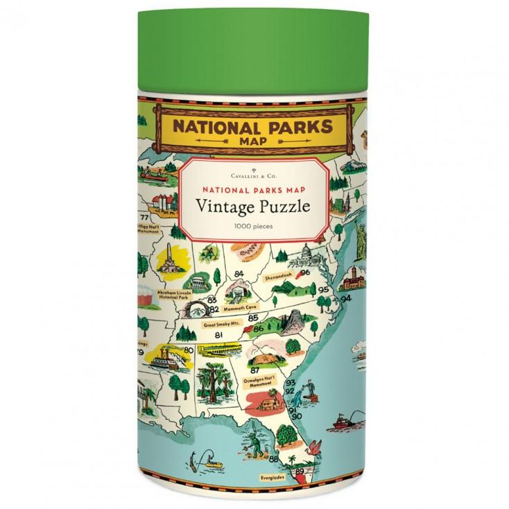Cavallini & Co National Parks Map 1000 Piece Jigsaw