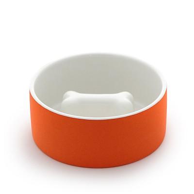 Paikka Medium Slow Feed Dog Bowl - Tangerine Bone