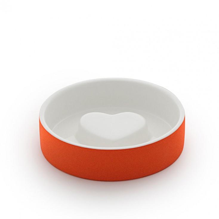 Paikka Extra-Small Slow Feed Dog Bowl - Tangerine Heart