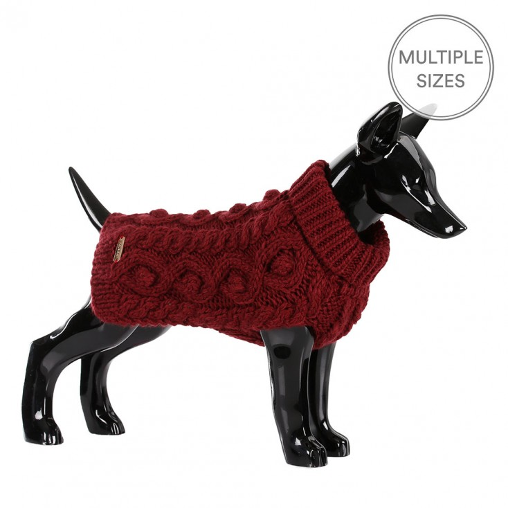 Paikka Knitted Dog Sweater - Burgundy