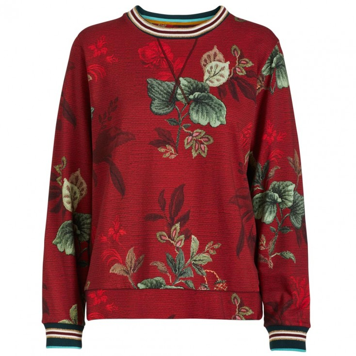 Leafy Stitch Red Sweatshirt - Pip Studio