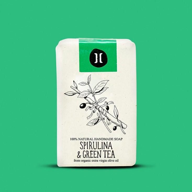Helleo Olive Oil Soap Bar - Spirulina & Green Tea