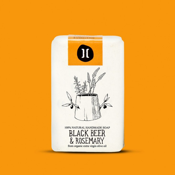 Helleo Olive Oil Soap Bar - Black Beer & Rosemary