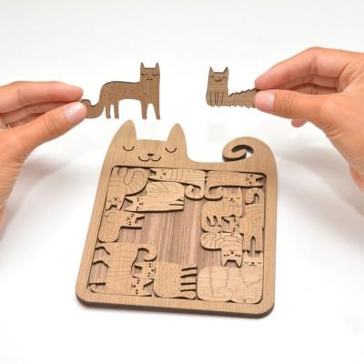 Etno Design Puzzle Trivet - Happy Cats