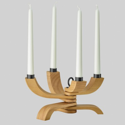 Nordic Light Oak Four Arm Foldable Candelabra