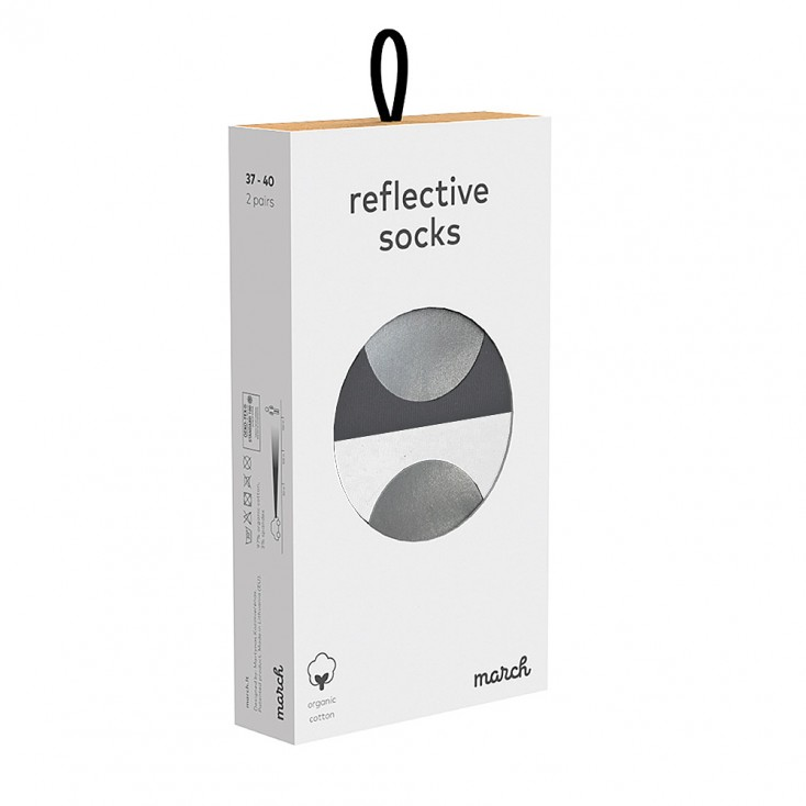 March Reflective Socks - Set of Two - Grey & White