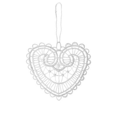 Juna White Lace Heart Hanging Decoration