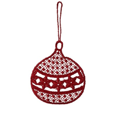 Juna Red Lace Bauble Decoration