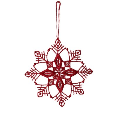 Juna Red Lace Snowflake Decoration