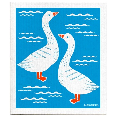 Jangneus Cellulose Dishcloth - Turquoise Geese