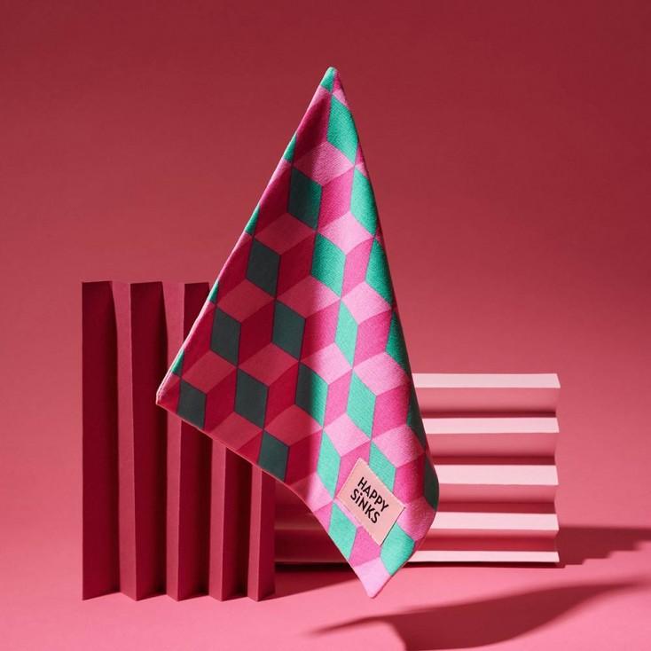HAPPY SiNKS Square Pink Dishcloths - Set of 3