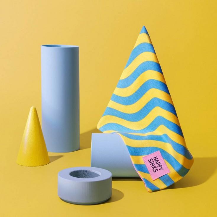 HAPPY SiNKS Wave Yellow Dishcloths - Set of 3