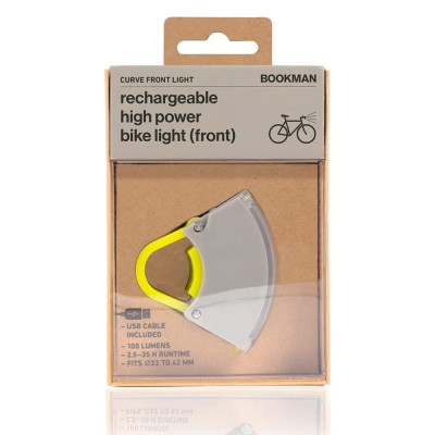 Bookman Curve Front Bike Light 3.0 - Grey / Neon Yellow