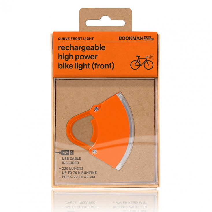 Bookman Curve Front Bike Light 3.0 - Orange