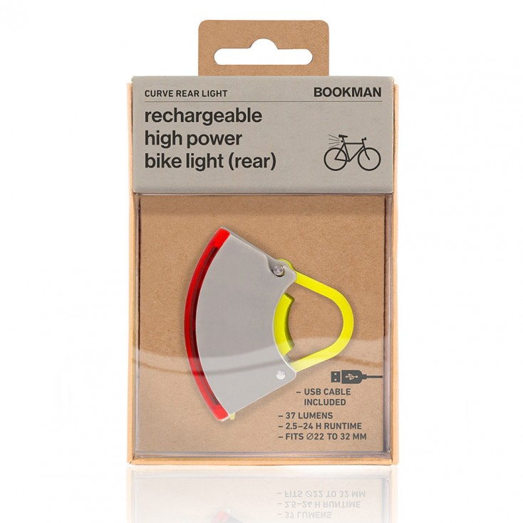 Bookman Curve Rear Bike Light 3.0 - Grey / Neon Yellow