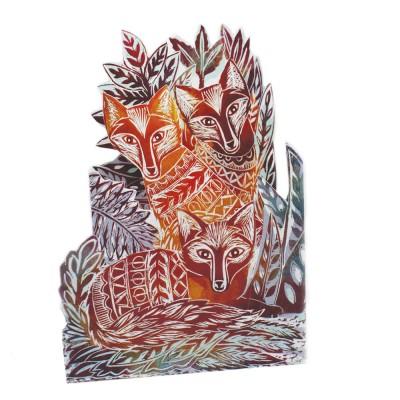 Judy Lumley Three Foxes Tri-Fold Card