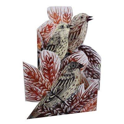 Judy Lumley Corn Buntings Tri-Fold Card