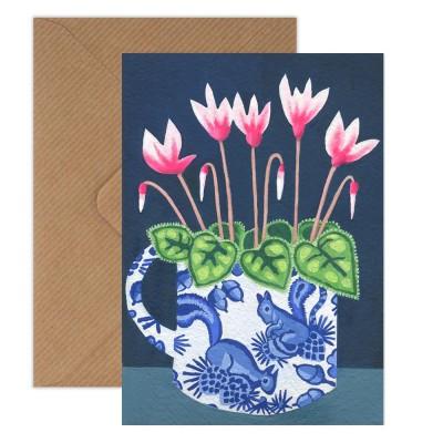 Susie Hamilton Cyclamen Greeting Card