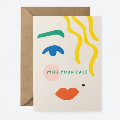 Graphic Factory Miss Your Face Greeting Card