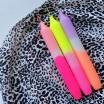 Pink Stories Dip Dye Neon Dinner Candle Trio - Summer Breeze