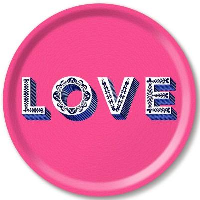 Asta Barrington Pink Love Round Tray By Jamida