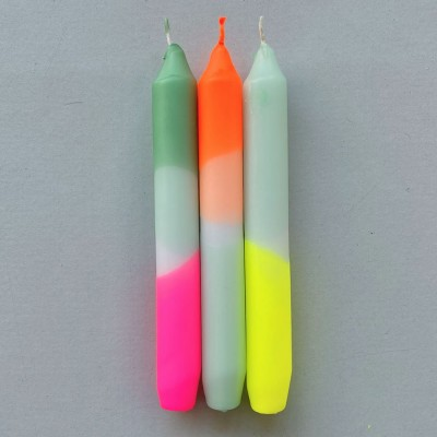 Pink Stories Dip Dye Neon Dinner Candles - Rainbow Kisses