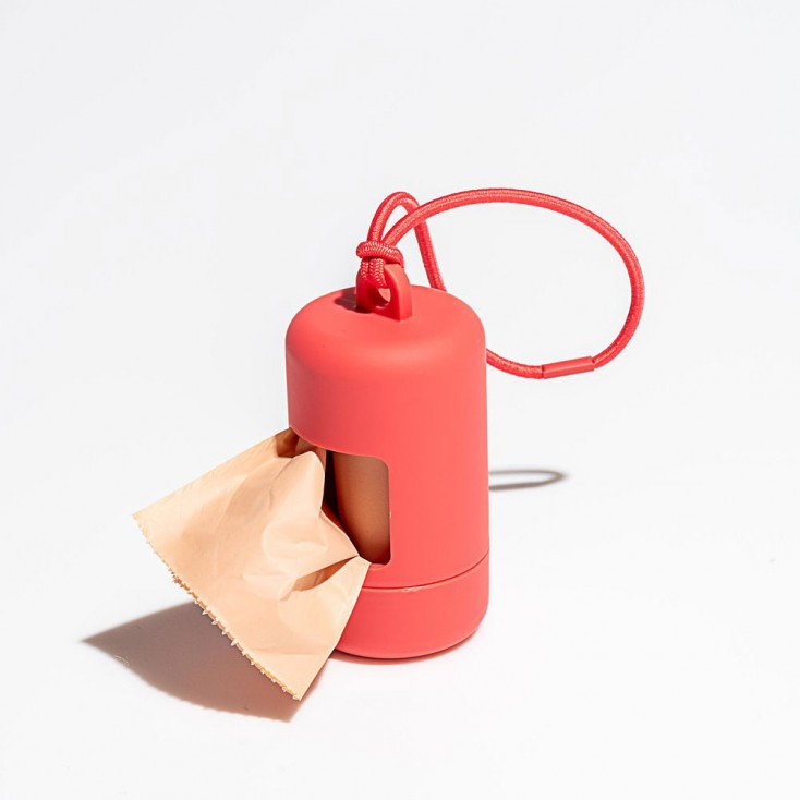 Wild One Poop Bag Carrier - Coral Red